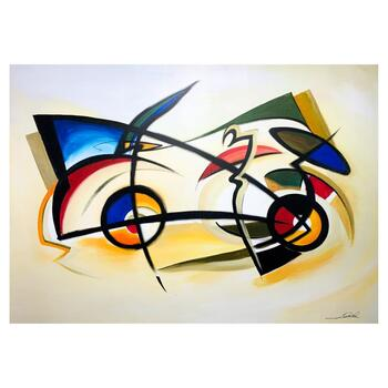 """Alfred Gockel, """"Space Car"""" Hand Signed Limited Edition on Canvas with Letter of Authenticity."""