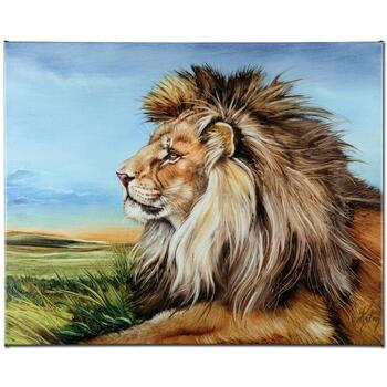 """Martin Katon, """"Guardian Lion"""" Ltd Ed Giclee on Gallery Wrapped Canvas, Numbered and Hand Signed."""