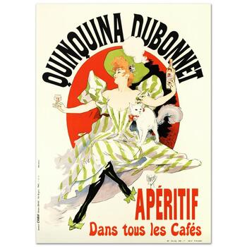 """RE Society, """"Quinquina Dubonnet"""" Hand Pulled Lithograph, Image Originally by Jules Cheret. Includes Letter of Authenticity."""
