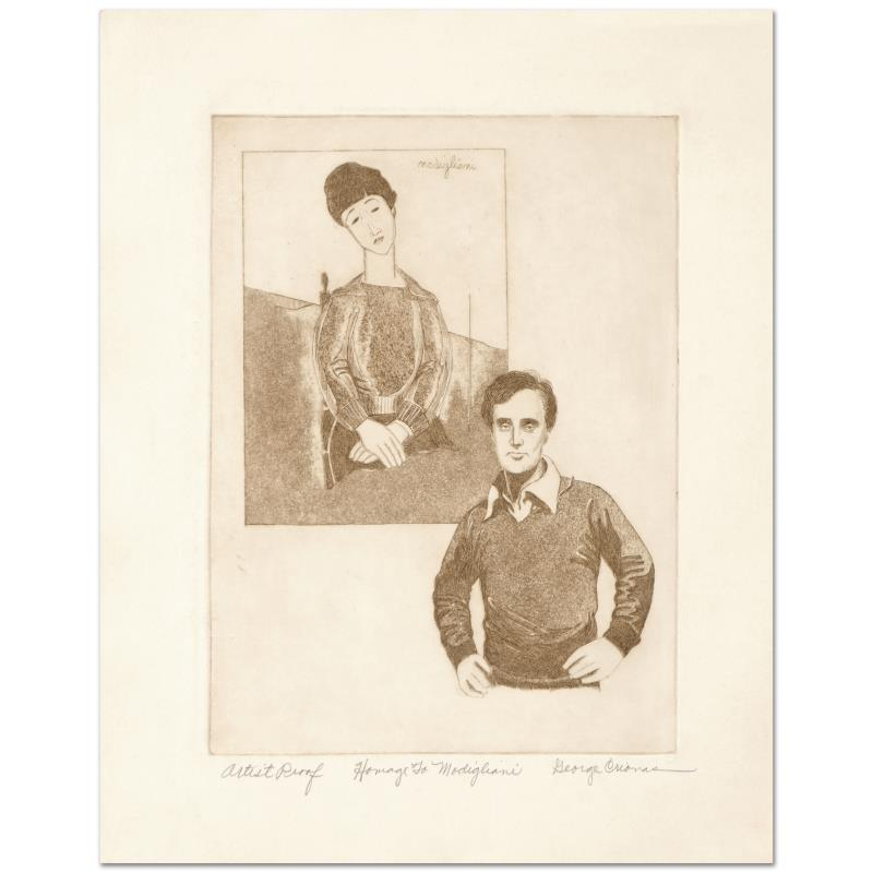 """GEORGE CRIONAS /""""HOMAGE TO MODIGLIANI/"""" Hand Signed Limited Edition Etching Art"""
