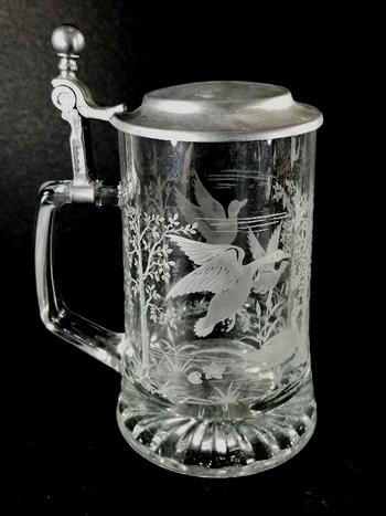 Vintage West German Etched Glass Beer Mug With Lid - Geese In Flight