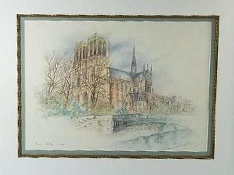 Signed Framed Print Water Color Notra Dame France