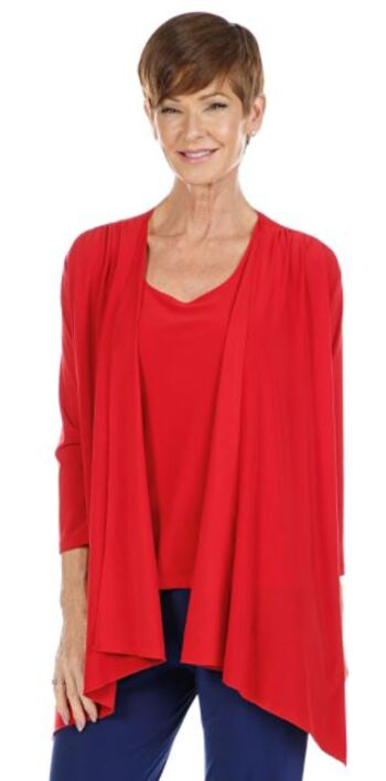 Slinky Brand Women's 3/4 Sleeve Jacket with Ruching At Shoulders, Red, Size 1X, Retail: $27.72