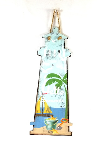 Custom Cutout Metal Sign - Hello Summer Lighthouse