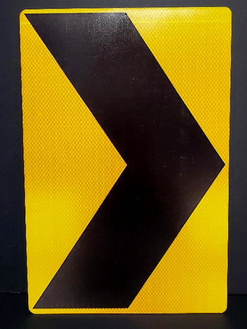 """Road Safety Chevrown Metal Sign 12"""" x 18"""""""