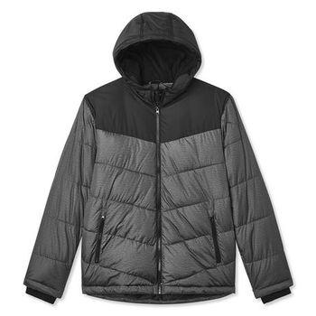Mens Color Block Puffer Jacket Black Grey Size M