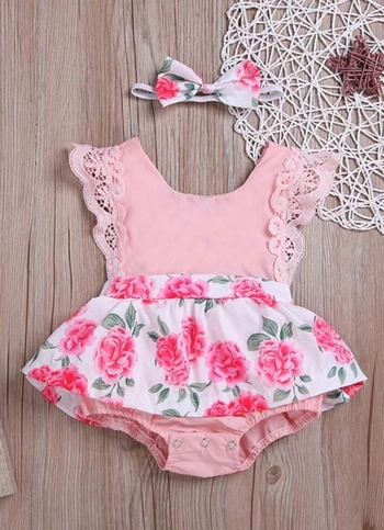 BABY GIRL FLORAL LACE TRIM COMBO BODY SUIT DRESS+HEADBAND