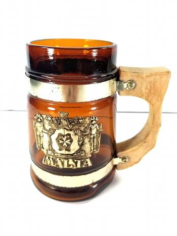 MALTA Vintage Amber Glass Barrel Mug With Wooden Handle