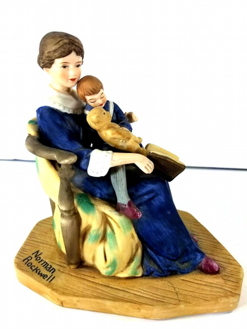 "Vintage Limited Edition 1981 Norman Rockwell Museum ""Bed Time"" Ceramic Figurine"