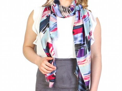 Abstract Brush Stroke Print Scarf - Purple Fuchia
