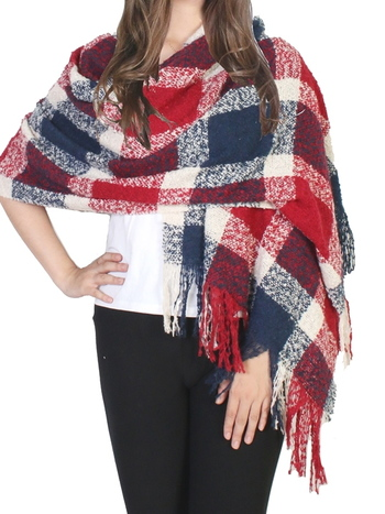 Plaid Boucle Yarn Scarf - Red Navy