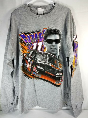 Denny Hamlin #11 FedEx NASCAR XL Gray Long Sleeve Shirt