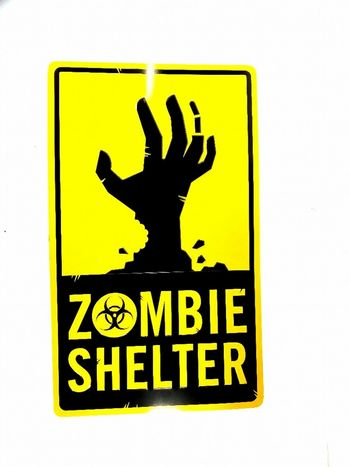Large Zombie Shelter Metal Sign