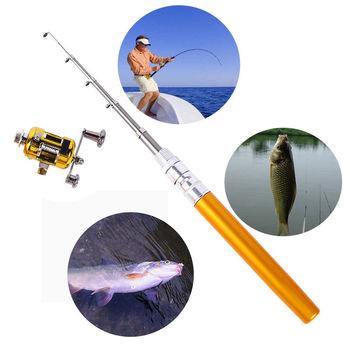 Mini Light Portable Pocket Fish Pen Aluminum Alloy Fishing Rod Pole w/Reel Combo