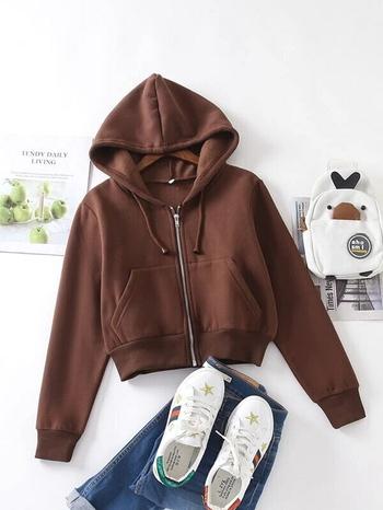 Ladies Zip Up Drawstring Hooded Sweatshirt Brown Size M