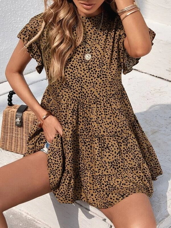 Ladies Allover Print Stand Collar Babydoll Blouse Size M
