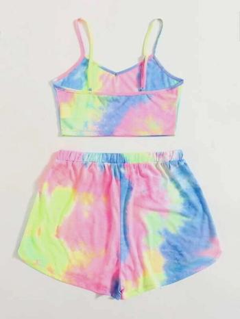 Ladies Tie Dye Crop Cami Top & Track Shorts Set Size L