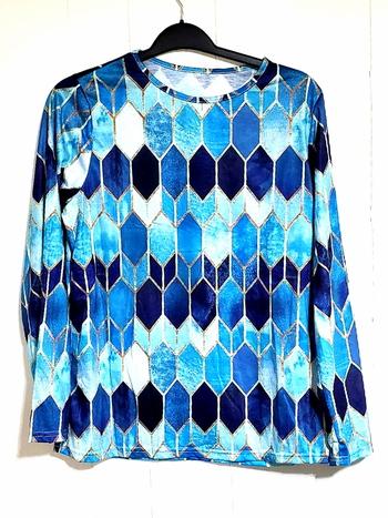 Ladies Long Sleeve Retro Geometric Patchwork Size XL