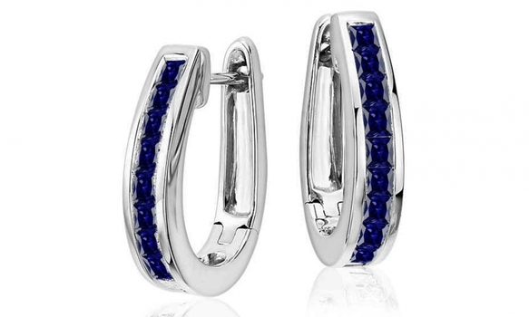 Oval Hoop Earrings Made with Blue Swarovski Crystals
