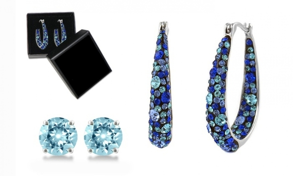 2 Sets Earrings Made with Blue Swarovski Crystals