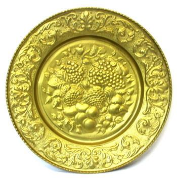 Vintage Brass Decorative Extra Large Hanging Plate