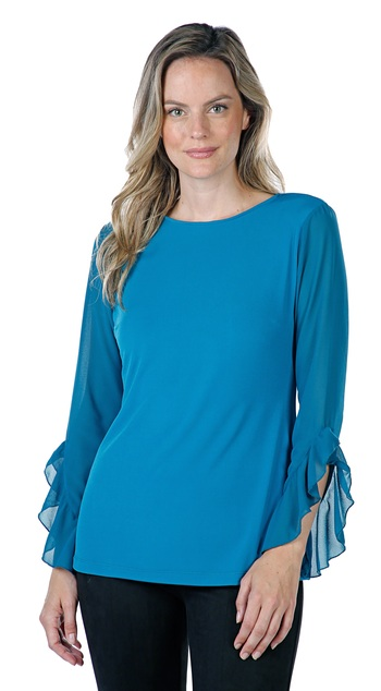 Guillaume Designs Ladies Matte Jersey Top With Flounced Chiffon Sleeves, Tea, Retail: $72