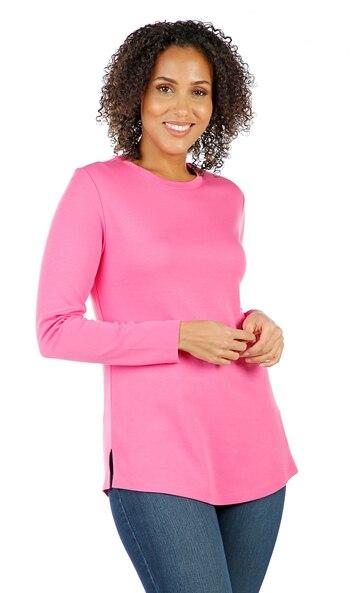 ISAAC MIZRAHI Ladies Essentials Crew Neck Knit Top, Pink, XS, Retail $27