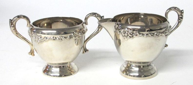 Silver Plated Creamer and Sugar Bowl Set