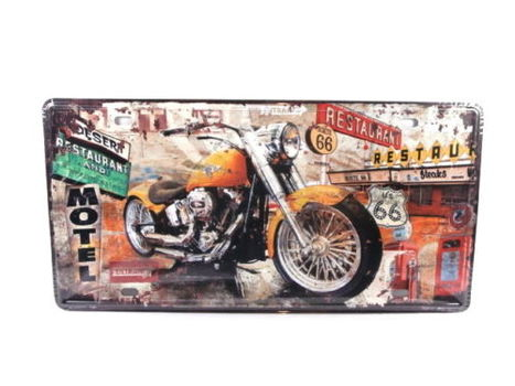Route 66 Motorcycle Metal License Plate