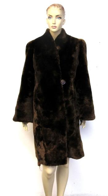 Vintage Women's Brown Sheared Lamb Coat - Size Medium
