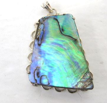 Vintage Rainbow Abalone Mother of Pearl and Sterling Silver Pendant