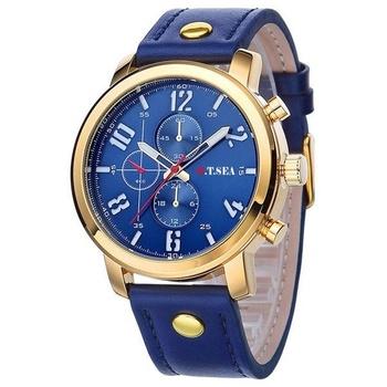 Men's Luxury Brown Genuine Leather Band Date Calendar Wrist Watch