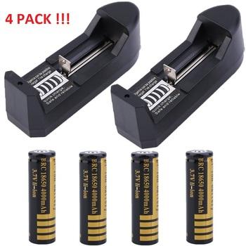 4 Pc  4000mAh 18650 Rechargeable 3.7V Batteries