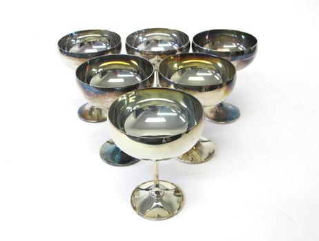 Vintage Set of 6 Silver Plated Ice Cream/Sorbet Goblets