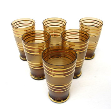 Vintage Set of 6 Drinking Glasses- Circa 1970's