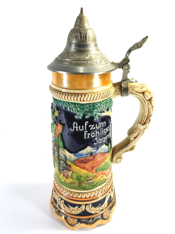 Vintage Colorful Relief German Made Musical Beer Stein With Lid