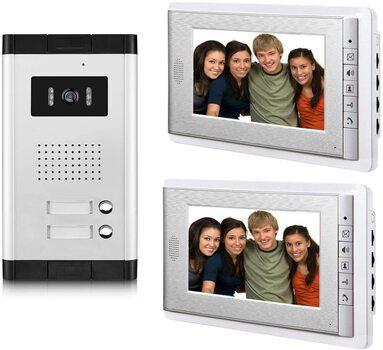Amocam Apartment Intercom Entry System 7 Inch Wired Video Intercom Doorbell Door Phone Kit - RETAIL $450.00