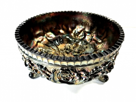 Imperial Glass Open Rose Footed Bowl in Smoke