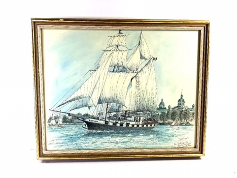 Framed In Glass Ships Scene Water Color Print Signed - Blackjack