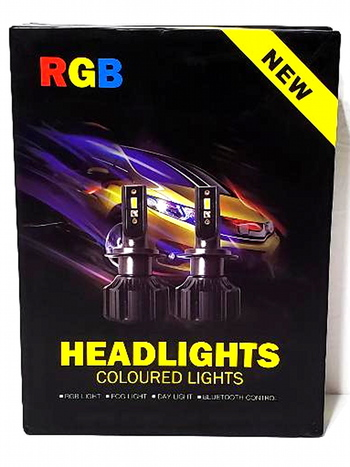 RGB X H7 LED Headlight Bulbs With Canbus Fan Cooling By Phone APP