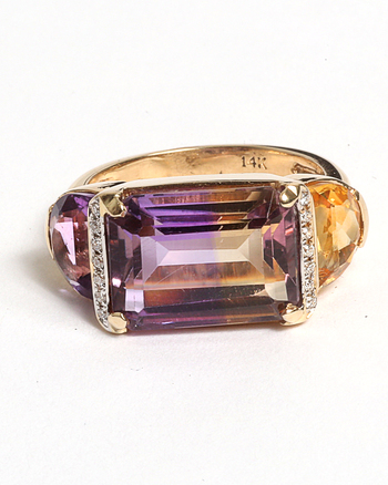 14kt Gold Diamond Amethyst Cocktail Ring Retail $3,150.00