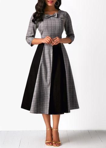 Bowknot Embellished High Waist Color Block Midi Dress M