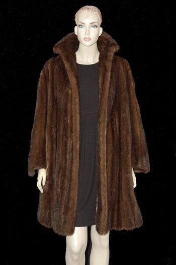 Dark Mahogany Sweeping Mink Coat - Size M/L - $4,900.00 Cold Storage Value