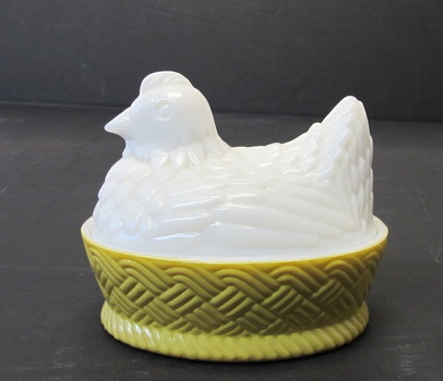 Vintage Avon Collector's Milk Glass Hen on Nest Basket