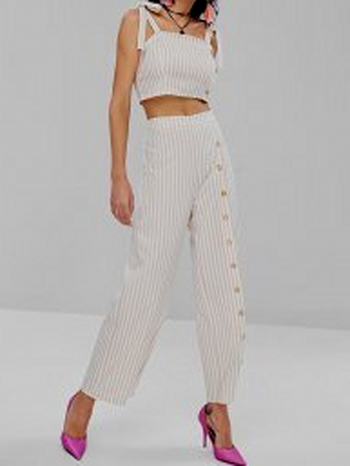 NWT Tie Shoulder Striped Crop Top And Pants Set - Apricot -  Size XL