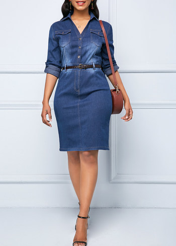 Button Up Denim Roll Tab Sleeve Dress - Size XL