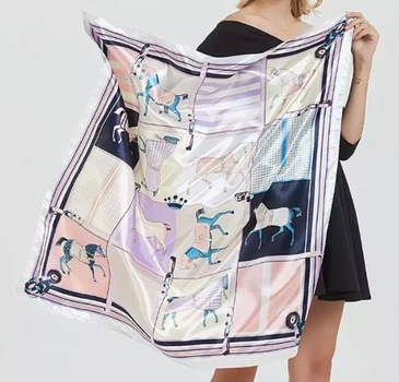 Horse Pattern Print Silk Shawl /Scarf  36 inch Square New