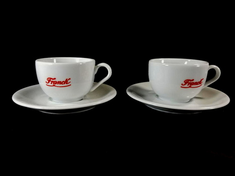 Two Inkea Frank Coffee Cups and Saucers