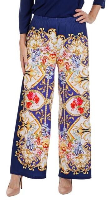 Slinky Women's Scarf Replacement Palazzo Pants, Navy/Multi, Size 1X, Retail: $29.45