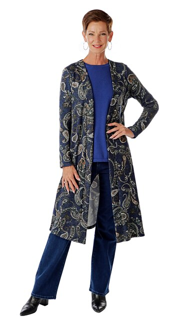 Bellina Women's Long Cardigan with Side Slits, Blue Paisley, Size S, Retail: $67.00